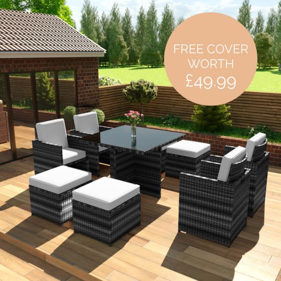 The Bali - 8 Seater Rattan Cube Set in Mixed Grey with Light Cushions