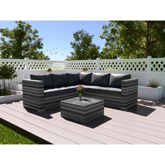 The Vienna 4 Seater Corner Rattan Garden Sofa Set - with coffee table