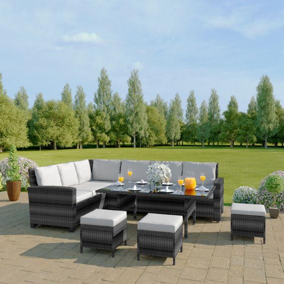 The Santorini 9 Seater Rattan Corner Garden Sofa & Dining Table Set in Mixed Grey With Light Cushions INCLUDES FREE OUTDOOR COVER
