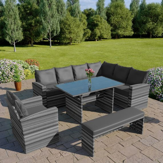 rattan garden furniture sofa dining corner set