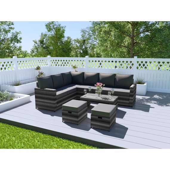 Rattan Corner Sofa Set Garden Furniture Coffee Table