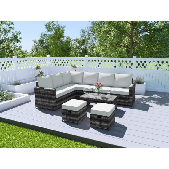Grey rattan outdoor garden sofa set with coffee table