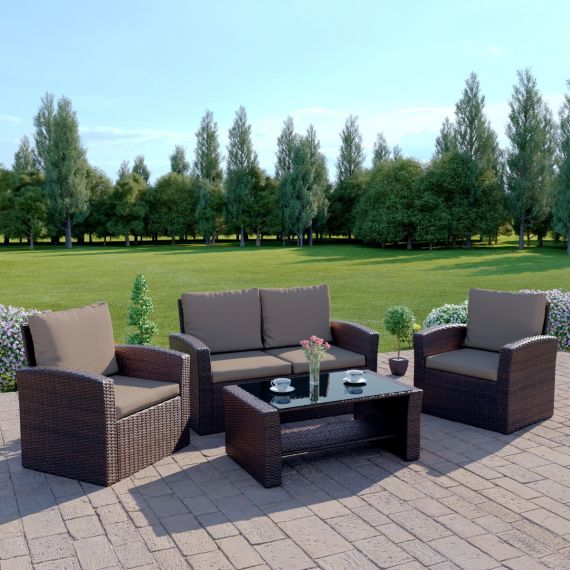 The Algarve 4 Seater Rattan Sofa Set in Brown with Dark Cushions