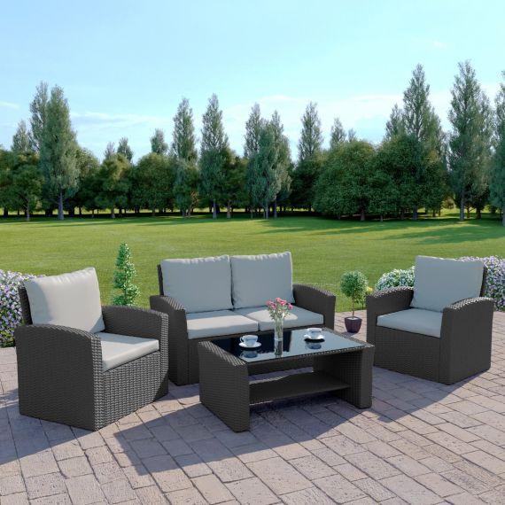 The Algarve 4 Seater Rattan Sofa Set in Solid Grey with Light Cushions