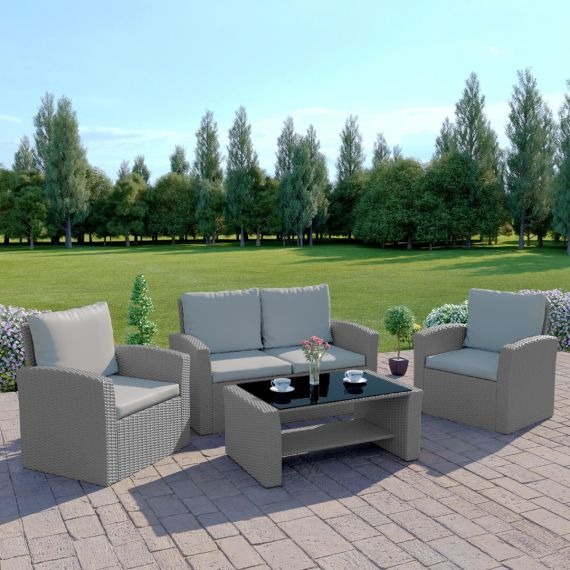 The Algarve 4 Seater Rattan Sofa Set in Light Solid Grey with Light Cushions