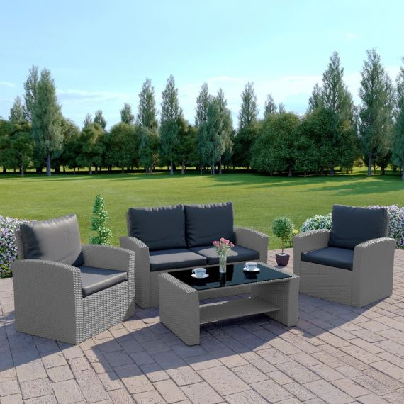 The Algarve 4 Seater Rattan Sofa Set in Light Solid Grey with Dark Cushions