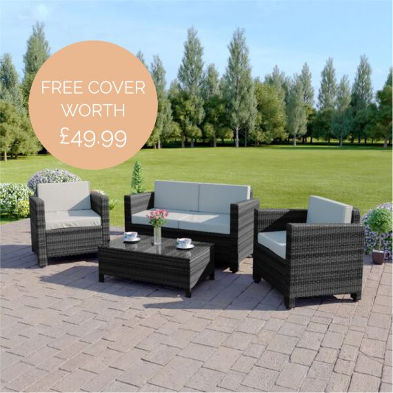 The Roma 4 Seater Rattan Sofa Set in Mixed Grey with Light Cushions INCLUDES FREE OUTDOOR COVER