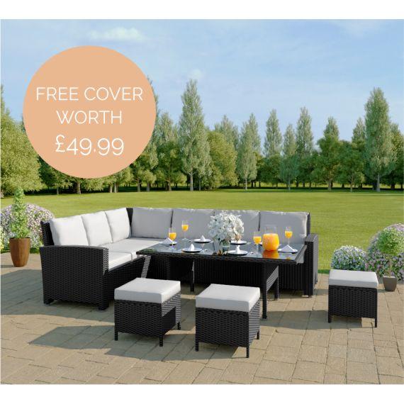 Black with light rattan garden sofa set