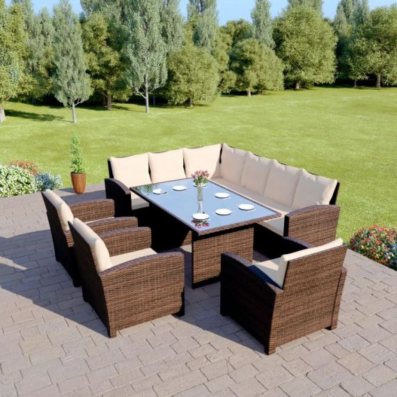 Bermuda 9 Seater Garden Rattan Dining Set Brown with Light Cushions