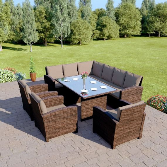 Bermuda 9 Seater Garden Rattan Dining Set Brown with Dark Cushions