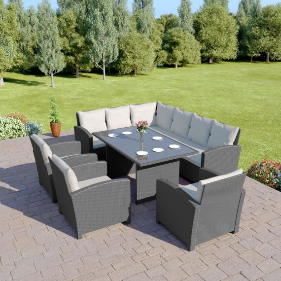 Bermuda 9 Seater Garden Rattan Dining Set Solid Dark Grey with Light Cushions