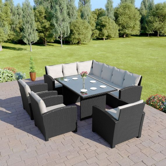 Bermuda 9 Seater Garden Rattan Dining Set Black with Light Cushions