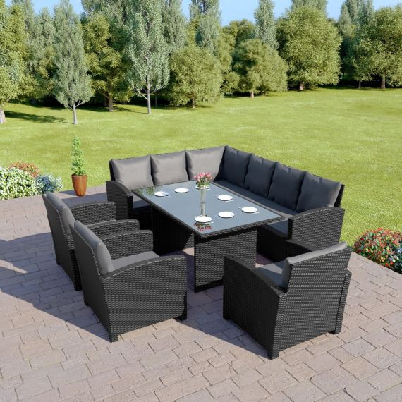 Bermuda 9 Seater Garden Rattan Dining Set Black with Dark Cushions