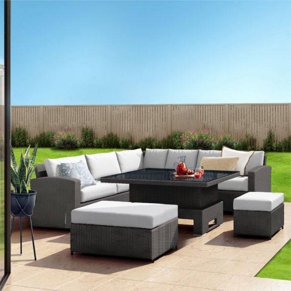 The Fiji 9 Seater Rising Table Rattan Corner Garden Sofa & Dining Set in Solid Grey With Light Cushions