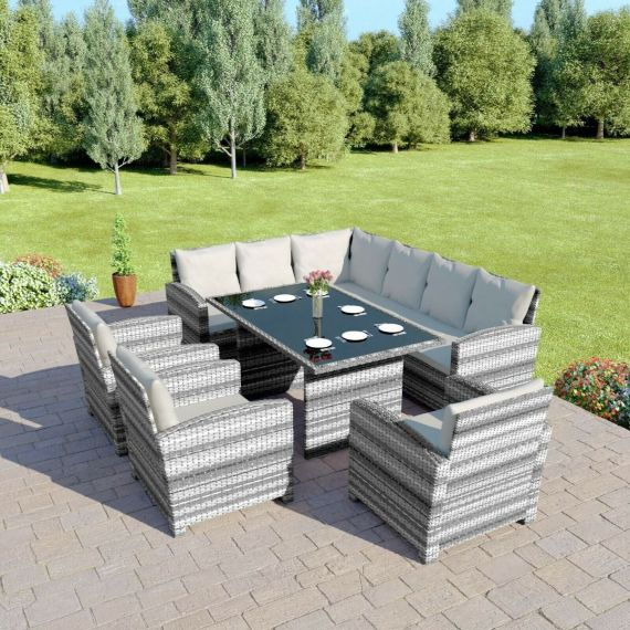 Bermuda 9 Seater Garden Rattan Dining Set Mixed Grey with Light Cushions